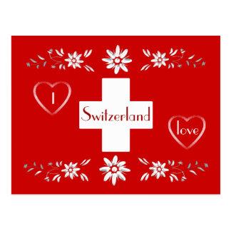 Carte Postale Drapeau et edelweiss suisses