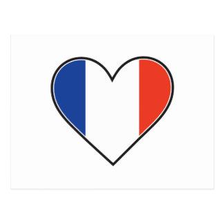 Carte Postale Drapeau français de coeur