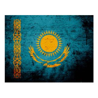 Carte Postale Drapeau grunge noir de Kazakhstan
