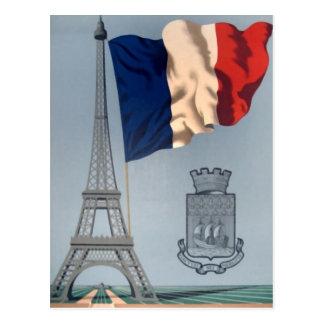 Carte Postale Drapeau national français vintage et Tour Eiffel