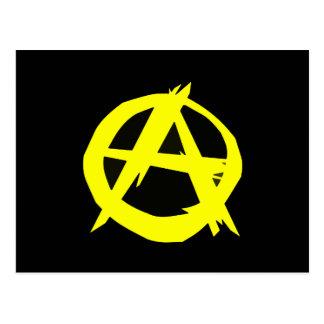 Carte Postale Drapeau noir et jaune de capitalisme d'Anarcho
