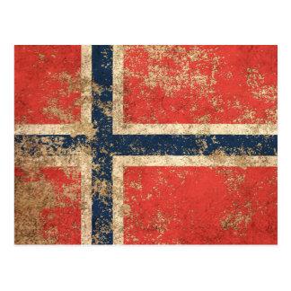 Carte Postale Drapeau norvégien vintage âgé rugueux