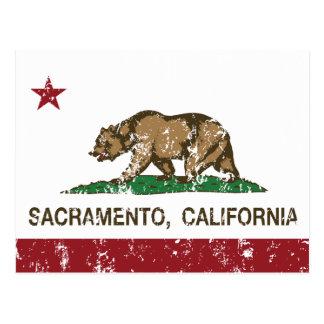 Carte Postale drapeau Sacramento de la Californie affligé