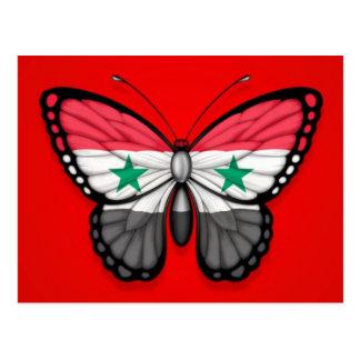 Carte Postale Drapeau syrien de papillon sur le rouge