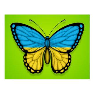 Carte Postale Drapeau ukrainien de papillon sur le vert