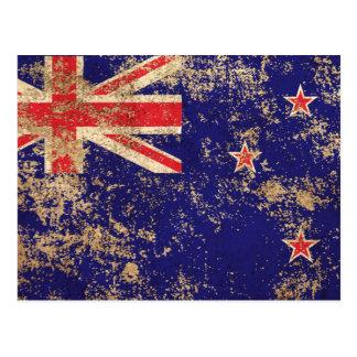 Carte Postale Drapeau vintage âgé rugueux de la Nouvelle Zélande