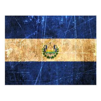 Carte Postale Drapeau vintage rayé et porté du Salvador