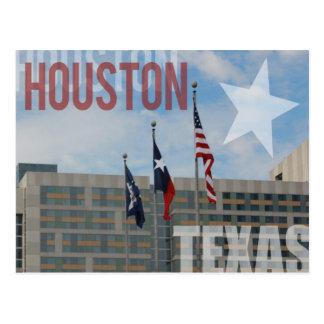 Carte Postale Drapeaux au-dessus de Houston, le Texas