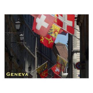 Carte Postale Drapeaux colorés à Genève, Suisse