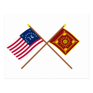 Carte Postale Drapeaux croisés de Bennington et de Pulaski