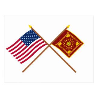 Carte Postale Drapeaux croisés des USA et de Pulaski