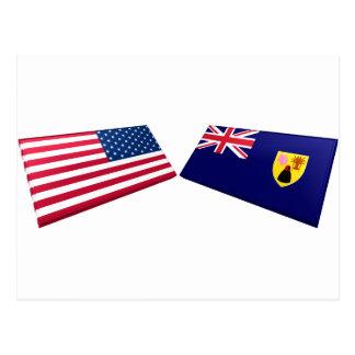 Carte Postale Drapeaux des USA et des Îles Turques et Caïques