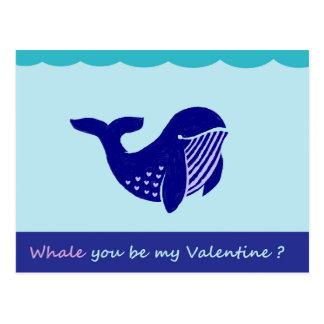 Carte postale drôle de baleine mignonne de