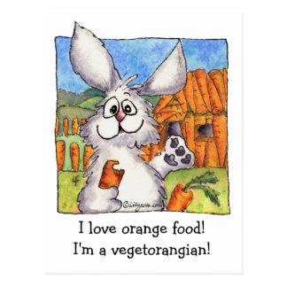 Carte postale drôle de végétalien de lapin de