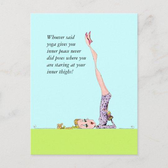 Carte postale drôle de yoga avec l'humour drôle de | Zazzle.fr