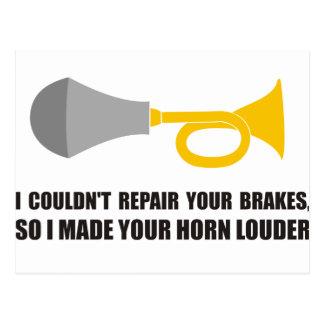 Carte Postale Drôle - je ne pourrais pas réparer vos freins,