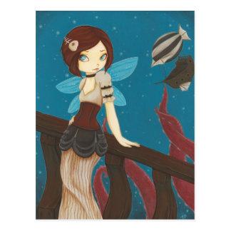 Carte Postale Du ciel - dirigeable de fée de Steampunk
