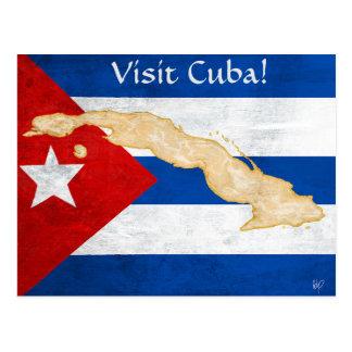 """Carte postale """"du Cuba de visite"""""""