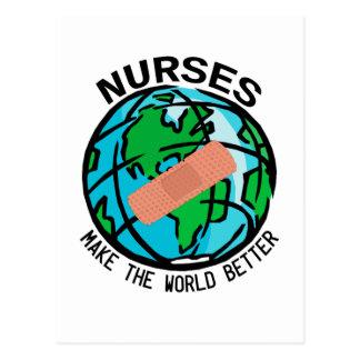 Carte postale du monde d'infirmières