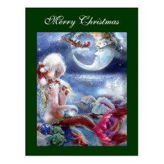 Carte postale du réveillon de Noël de la sirène