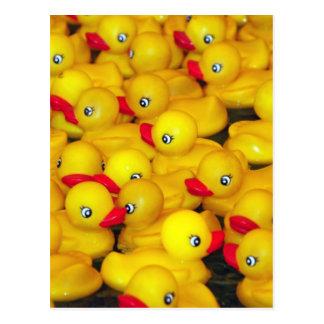 Carte Postale Duckies en caoutchouc jaunes mignons