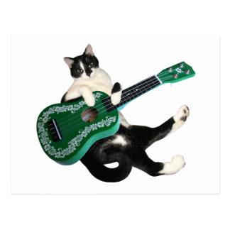Carte postale d'ukulélé de chat