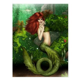 Carte postale d'une chevelure rouge de sirène