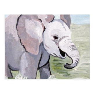 Carte Postale Éclaboussement au sujet de l'éléphant de bébé (art