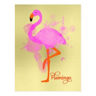 Carte Postale Éclaboussure artistique de peinture de flamant