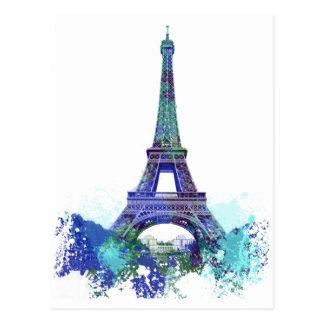 Carte Postale Éclaboussure de couleur d'Eiffel de visite de La
