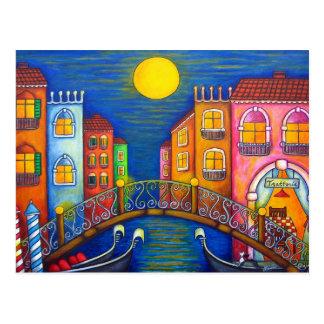 Carte postale éclairée par la lune de Venise