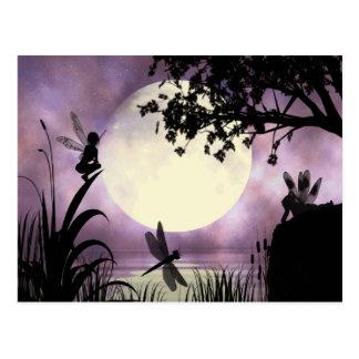 Carte postale éclairée par la lune féerique