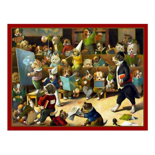 """Carte postale : """"École de chien"""" par Louis Wain"""