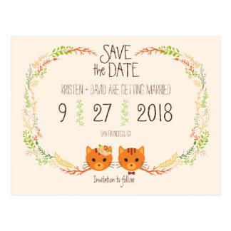 Carte Postale Économies crèmes de mariage de chats lunatiques de
