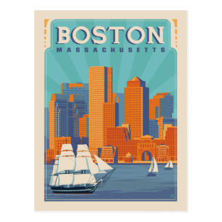 Carte Postale Économies de Boston, le Massachusetts | la date