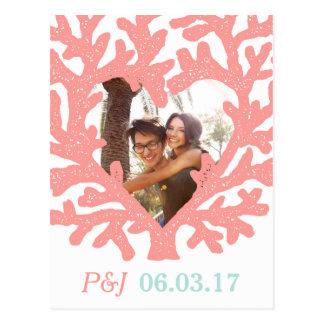 Carte Postale Économies de corail de mariage de plage d'Aqua de
