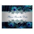 Carte Postale Économies de mariage de paon d'argent de bleu