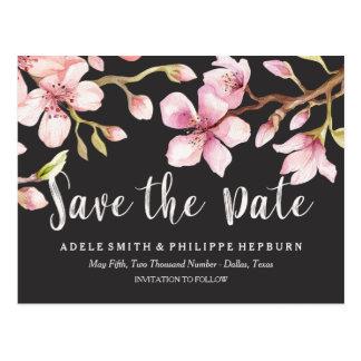 Carte Postale Économies de noir de fleurs de cerisier