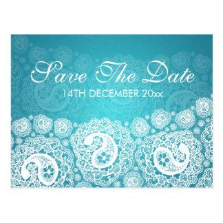 Carte Postale Économies élégantes le bleu de dentelle de Paisley