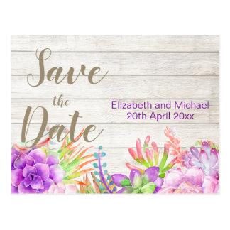 Carte Postale Économies florales rustiques de pourpre la date