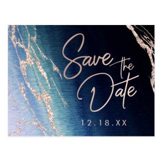 Carte Postale Économies roses de mariage d'or d'agate de bleu