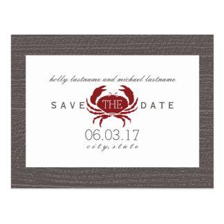 Carte Postale Économies rustiques de mariage de crabe la date