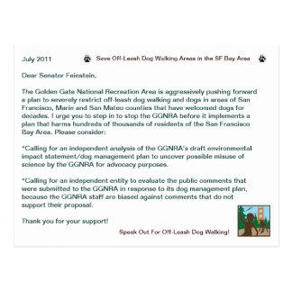 Carte Postale Économisez outre du sénateur de marche Feinstein