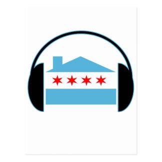 Carte Postale Écouteurs de drapeau de Chambre de Chicago