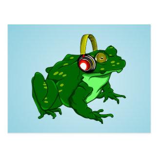 Carte Postale Écouteurs de port de grenouille mugissante drôle