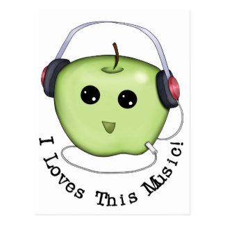 Carte Postale Écouteurs verts d'Apple