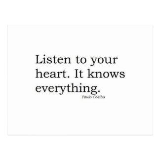 """Carte Postale """"Écoutez votre coeur. Il sait tout"""" Coelho"""