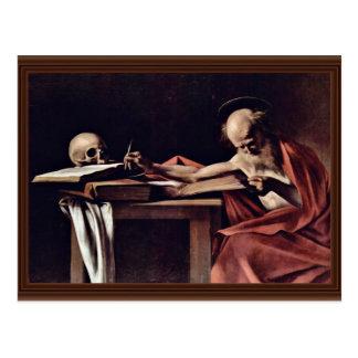 Carte Postale Écriture de St Jerome par Michaël Angelo Merisi DA
