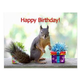 Carte Postale Écureuil de joyeux anniversaire