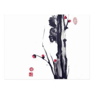 Carte Postale Écureuil pelucheux sur l'arbre